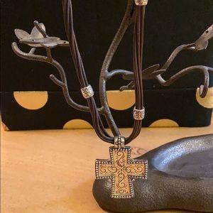 Vintage Brighton Cross Leather Cord Necklace